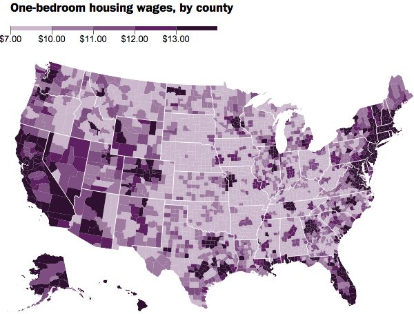 An interactive map showing what you'd have to make per hour to afford a decent 1-bedroom apartment in every county in the US. Click on the map in the article to get to the interactive version.