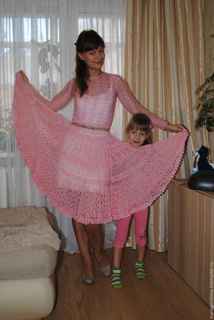 Купить Розовый зифир - бледно-розовый, абстрактный, пышное платье, вязанное платье
