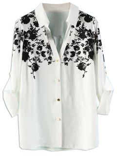 Shop White Floral Shirt from choies.com .Free shipping Worldwide.$13.9