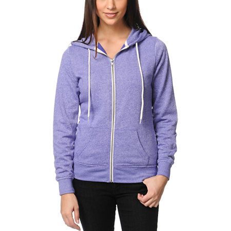 Add a sweet tart punch of color to your daily outfit with the Deep Blue Lavender zip up hoodie from Zine Girls. The lightweight sweatshirt features a soft fleece interior, adjustable drawstring hood, front pockets, and a metal zipper with contrasting zip tape. The lavender purple color has a Patina speckled pattern to give your purple zip up a fresh new look. Layer under your black bomber jacket with a graphic tee for a casual look with color pop where you want it!