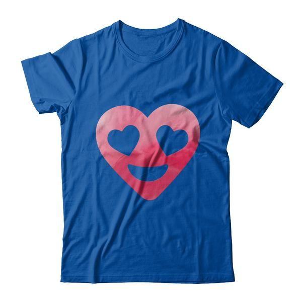 Men And Women's Emoji Heart Valentine's Day Shirt Heart Eyes
