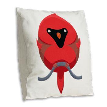 Cartoon Cardinal Burlap Throw Pillow from cafepress store: AG Painted Brush T-Shirts. #pillow #cardinal #bird