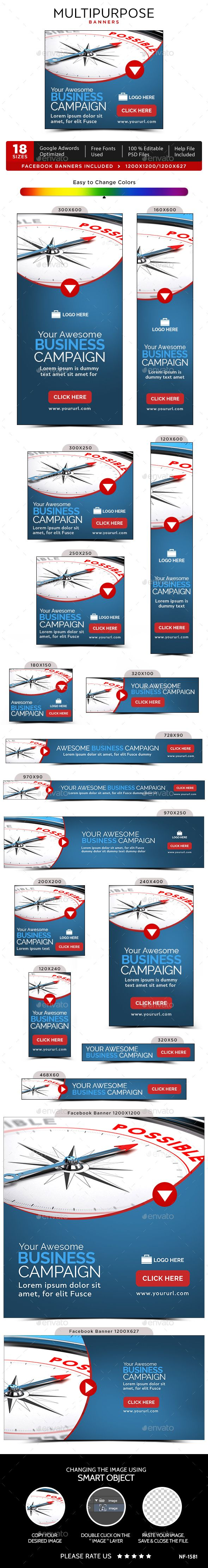Multipurpose Web Banners Template PSD