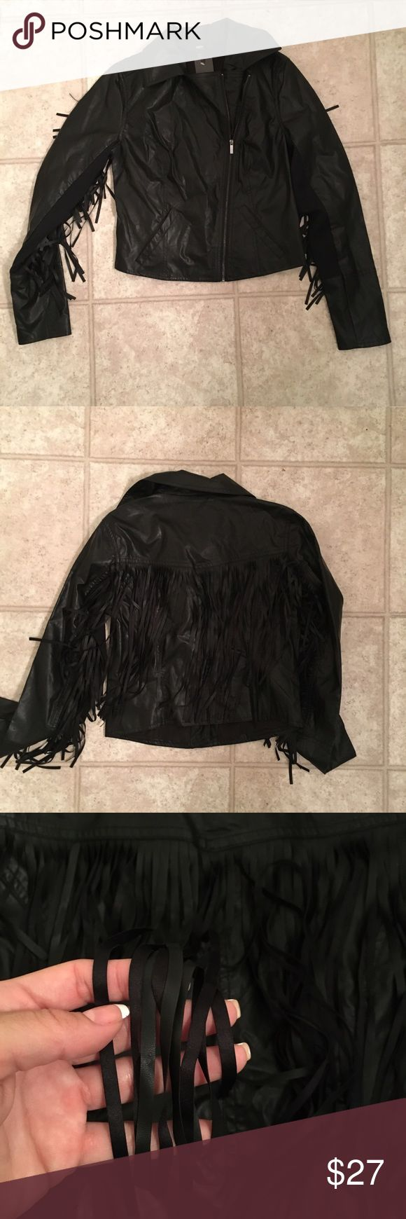 Black Mossimo Leather Jacket w Fringe Super cute, country style jacket. It looks so good on! True to size and brand new! Wear to a concert, festival, or a night out! Mossimo Supply Co Jackets & Coats