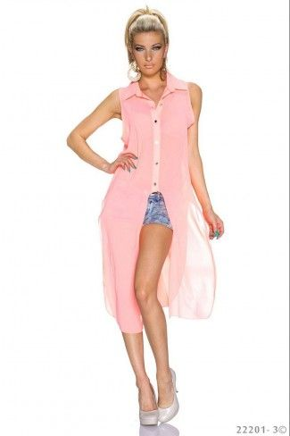 Transparent σιφόν μακρύ πουκάμισο - Ροζ
