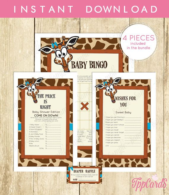 Giraffe Baby Shower Games for Boy Brown Blue Giraffe Baby Games Instant Download by TppCardS #tppcards