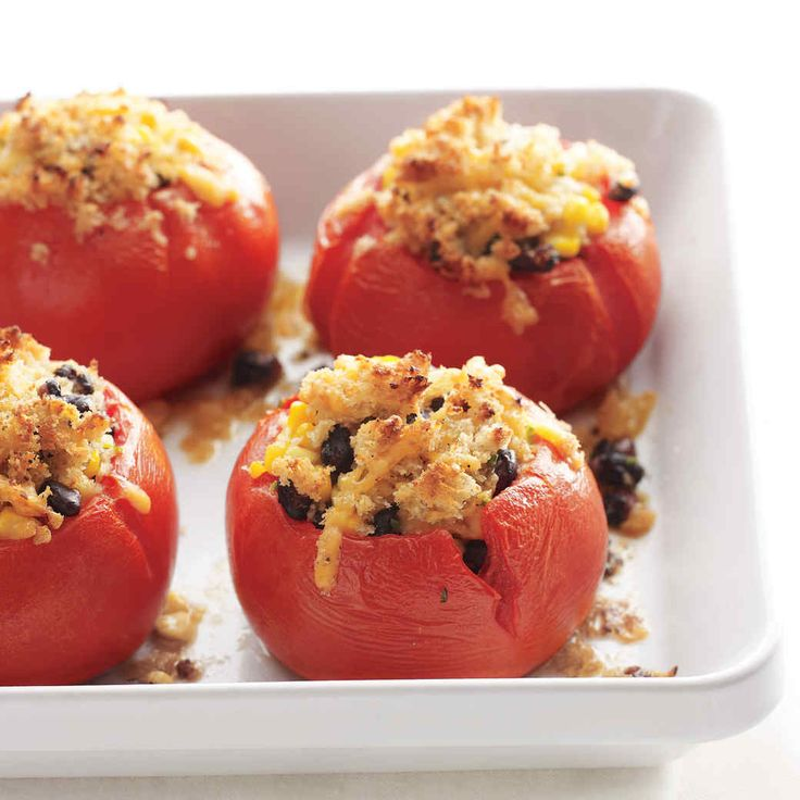 Meaty beefsteak tomatoes are easily found in most supermarkets and are the go-to choice for thick slices on burgers or BLTs. When stuffed and baked, as here, they are meltingly delicious. Don't waste a bit of these amazing tomatoes -- use the insides you scoop out here to make a simple Spanish appetizer called Pan con Tomate, below.