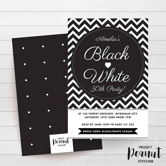 Black and White - Thirty Birthday - Adult Party - Monochrome Invite - Adult Birthday - Birthday Invitation - Thirty - Party Printables Celebrate your 30th birthday in style with this black and white monochrome invitation.  PLEASE NOTE:  + You are purchasing a digital file only.  + NO PRINTED MATERIALS ARE INCLUDED!  + There are NO REFUNDS as this is a digital product.  + A reminder that this is a DIGITAL PRODUCT.  WHAT DO YOU GET? 4x6 inch digital printable invitation - with *bonus reverse…
