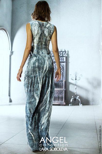 тонкое валяное платье Ангел - серый,рисунок,Мокрое валяние,войлок,тонкий войлок - felted dress