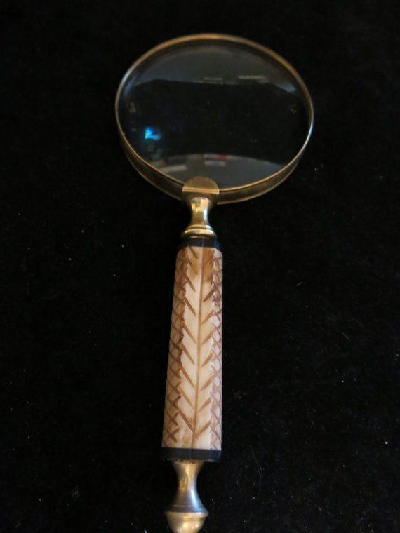 Vintage Antique Magnifying Glass Hand Carved Bone Handle 9