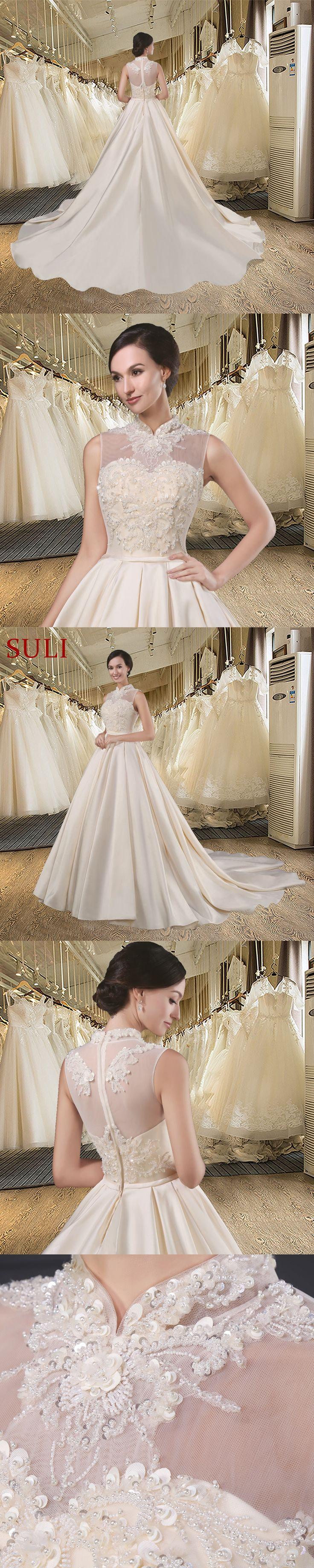 SL029 Elegant Champagne A-line Wedding Dress Romantic Appliques beaded High-neck princess classical Bridal Gown vestido de noiva