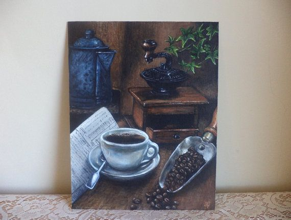 Morning Coffee and Newspaper Still Life. by mygoodbabushka on Etsy.