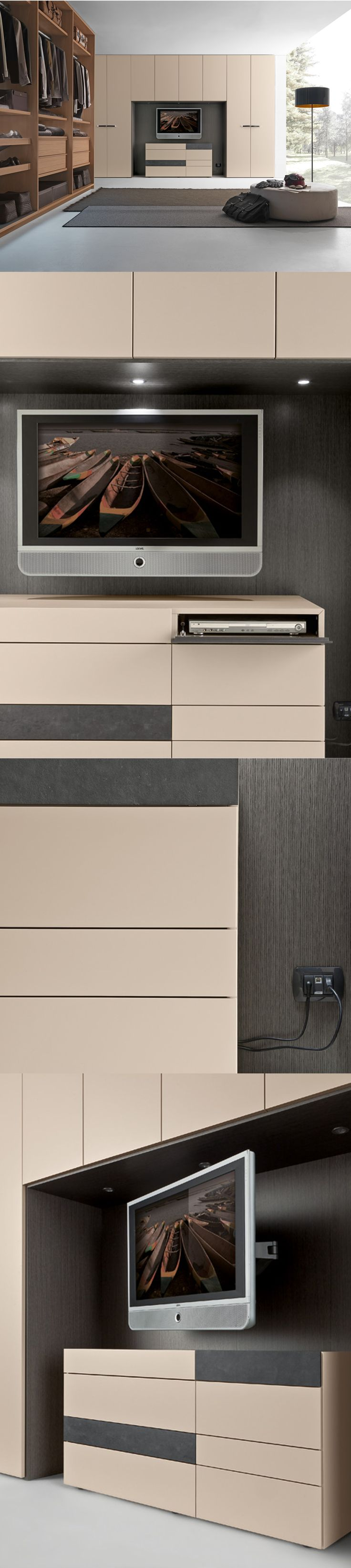 PRESOTTO | #Wardrobe with bridging module in matt corda lacquered with back panels in grey oak. In front the Wing #dresser has a compartment with a fl ap door for electronic equipment. _ #Armadio con modulo ponte in laccato opaco corda e pannelli schienale sottoponte in rovere grigio. Davanti, il #comò Wing è dotato di vano con ribalta per l'alloggiamento di apparecchi elettronici.