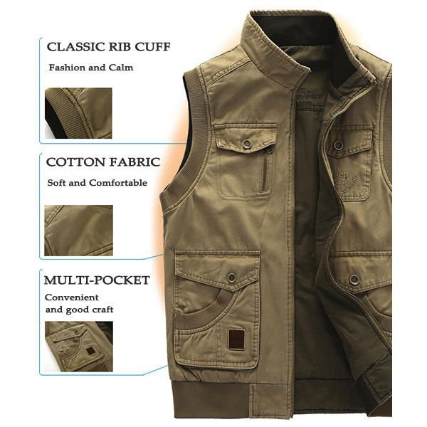 AFSJEEP Mens Big Size Casual Outdoor Washed Double Sided Wear Multi Functions Vest at Banggood