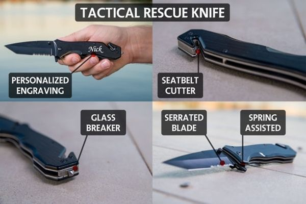 """PERSONALIZED POCKET KNIFE, HUNTING KNIFE, GIFT FOR MEN @ SignatureThings.com  This spring assisted multi-purpose knife works great for any task. It features a sharp and durable black stainless steel blade and a 4"""" smooth wood handle that fits comfortably in your hand. 8"""" overall length.  #Arts #Crafts #Knife #Giftsformen #Personlized #Tools #HomeDecor"""