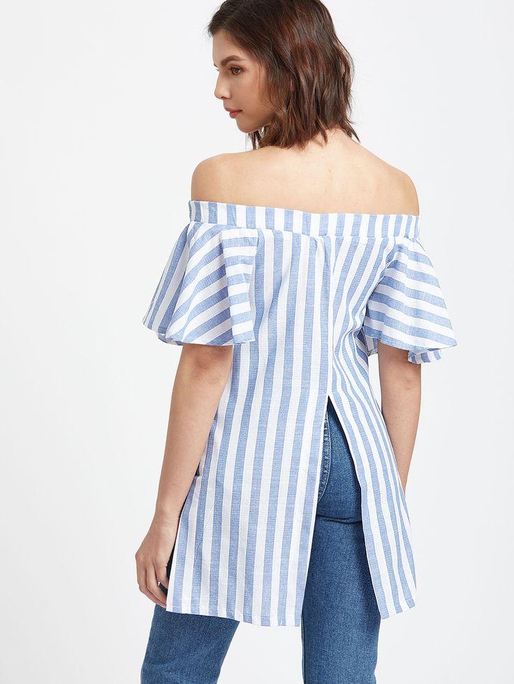 Blue Striped Off The Shoulder Embroidered Slit Hem Top -SheIn(Sheinside)
