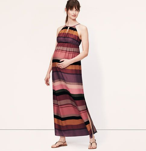 Maternity Striped Keyhole Halter Maxi Dress | Loft: Maternity Stripes, Keyhol Halter, Halter Styles, Stripes Keyhol, Halter Maxis Dresses, Silky Halter, Halter Ties, Side Slit, Halter Maxi Dresses