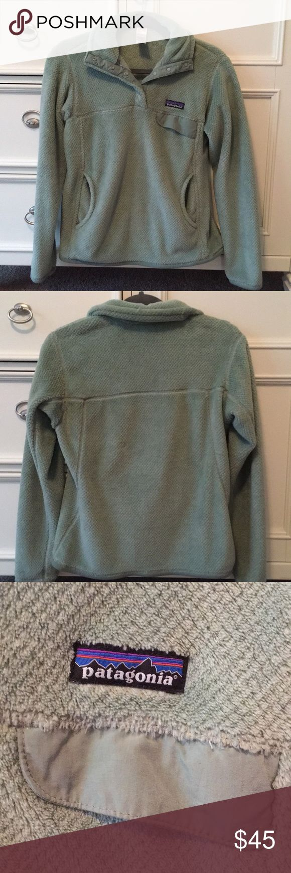 Patagonia Pullover Good condition! Color is a light seafoam green! Only selling because I grew out of it. Patagonia Jackets & Coats