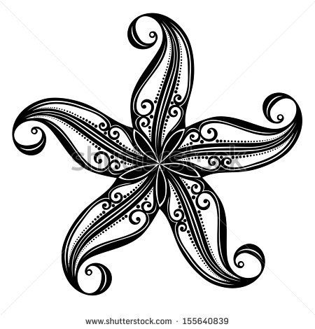 Vector Abstract Sea Starfish. Patterned design - stock vector