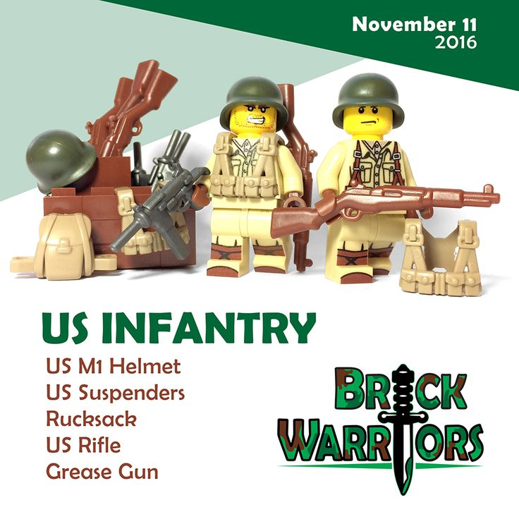 World War 2 Military Accessories Now Available! BrickWarriors is excited to introduce the first round of our brand new World War II themed military accessories! In honor of Veteran's Day, we're kicking off our WWII releases with the US Infantry division. #lego #legoguns #veteransday #minifigureguns #customlegoguns #legoveteransday #legomilitary #military #toyguns #toys #ww2 #wwII #worldwar2 #worldwarII