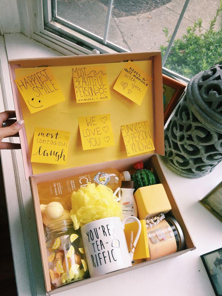 yellow vsco boxofhappiness Diy birthday gifts, Cute