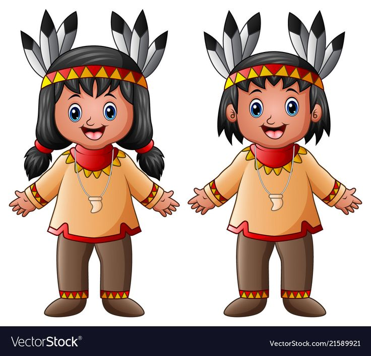 Cartoon children native indian american Royalty Free ...