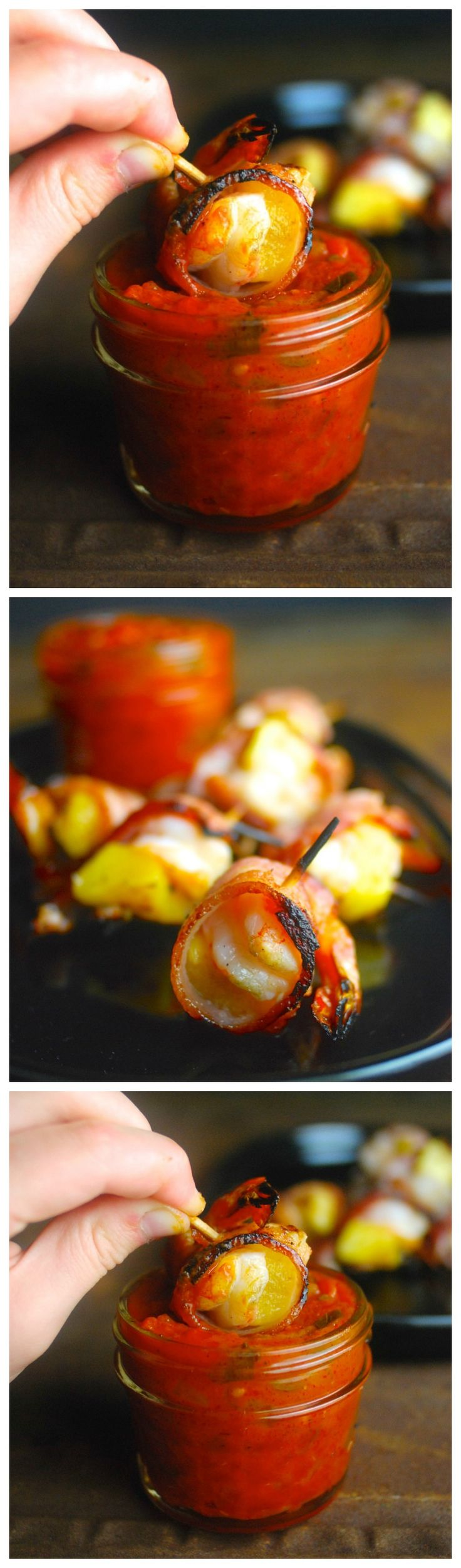 We love this healthy, grown-up version of Hawaiian pizza -- shrimp and fresh pineapple wrapped in bacon with a homemade marinara dipping sauce. Perfect for game day or Super Bowl. Paleo, gluten free, Whole30.