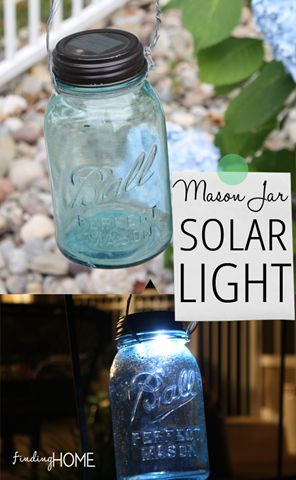 The perfect vintage addition to any outdoor space - easy DIY mason jar solar lights. Vintage mason jars with purchased premade mason jar lid with solar light built in. Simply screw on the lid and add wire or string to hang outdoors. LM 10-2013