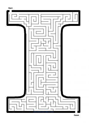 Alphabet Mazes - Capital Letter I Maze - James Mazes