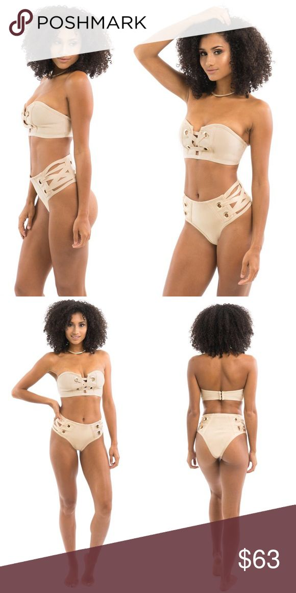 NIDE BANDAGE BIKINI Beige with gold detailing  Bandage fabric  Bathing suit/ Swimsuit style  Side cut-out Front crossing detail Sweetheart cut 90% Polyester, 10% Spandex. PRICE FIRM. ALL PICTURES TAKEN EXCLUSIVELY FOR STYLE LINK MIAMI AND SHOWING ACTUAL PRODUCTS. PRICE FIRM. Style Link Miami Swim Bikinis