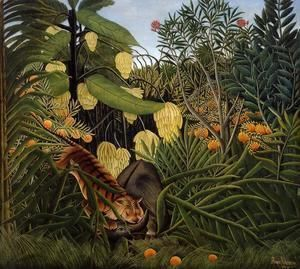Fight Between A Tiger And A Buffalo  Henri Julien Rousseau