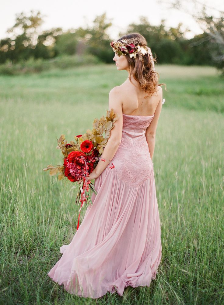 Red blush gold wedding inspiration for Blush and gold wedding dress