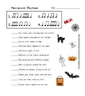 FREE DOWNLOAD - Halloween Rhythms Worksheet - Elementary Music Resources - Upper elementary rhythms