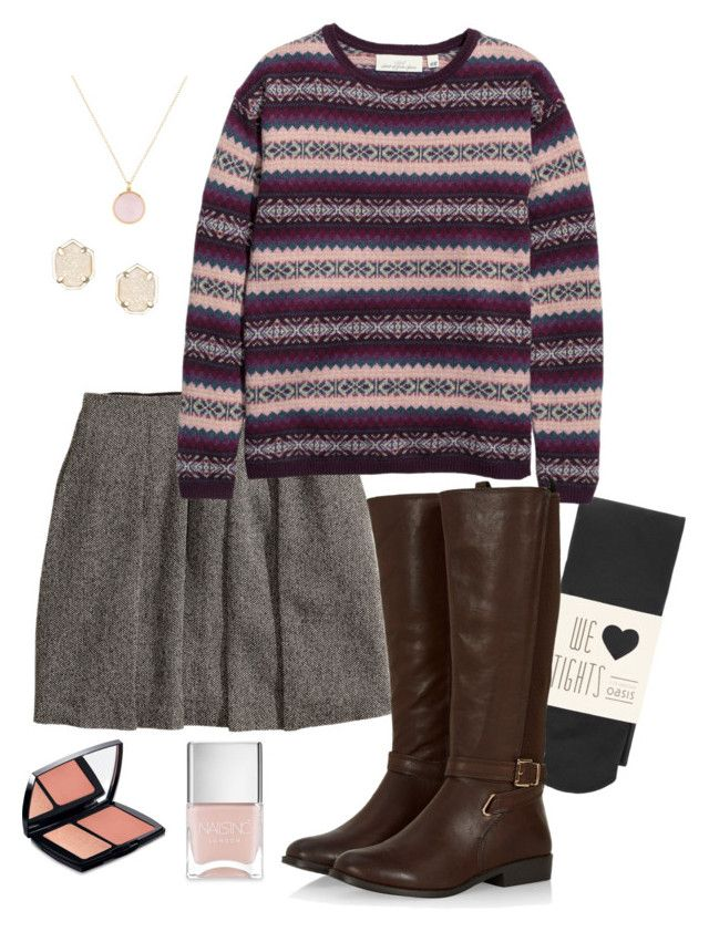 """girly winter look"" by deliag ❤ liked on Polyvore featuring Oasis, H&M, Ippolita, Kendra Scott, Nails Inc. and Lancôme"