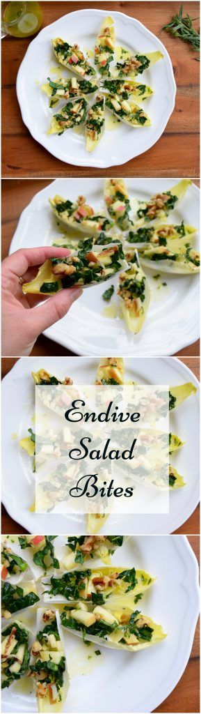 These salad bites are fancy, easy, and crazy delicious! #vegan #glutenfree Belgian Endive Apple Salad Bites Walnuts  Kale  Tarragon  Lemon
