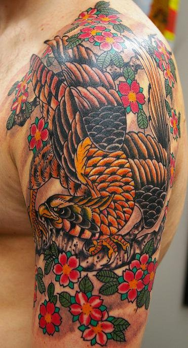 Tattoo By Gabe Garcia at IRON TIGER TATTOO Columbia MO Hawk Tattoo