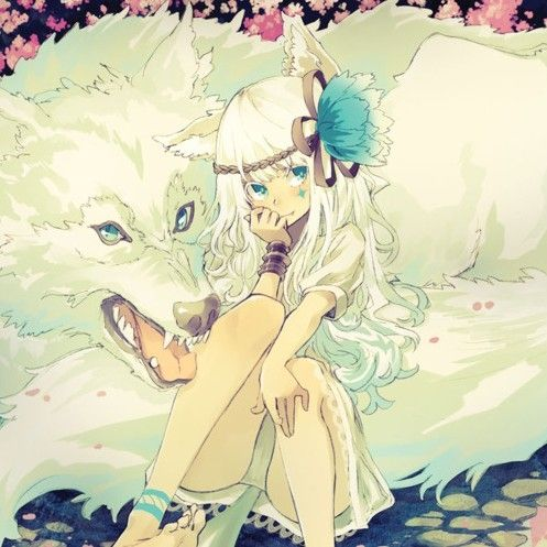 anime+wolf | anime, girl, white wolf - inspiring picture on Favim.com