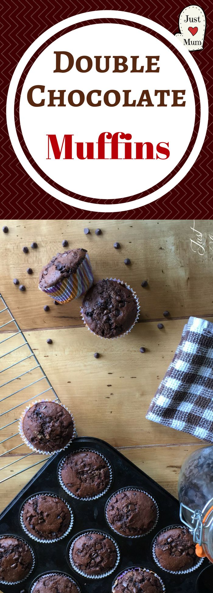 Delicious EASY Chocolate Chip Muffins with double the chocolate!