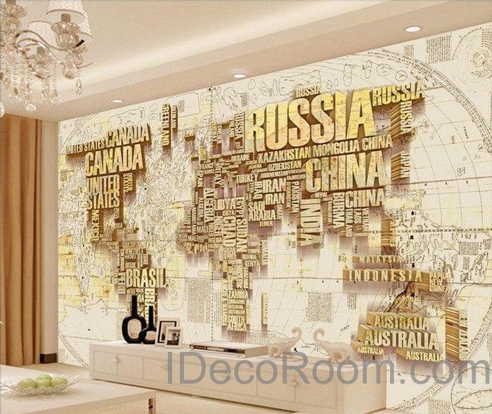 Abstract World Map Nation 3d Wallpaper Wall Decals Wall Art Print Mural Home Decor Indoor Office Busi 3d Wallpaper For Walls Wall Wallpaper World Map Wallpaper