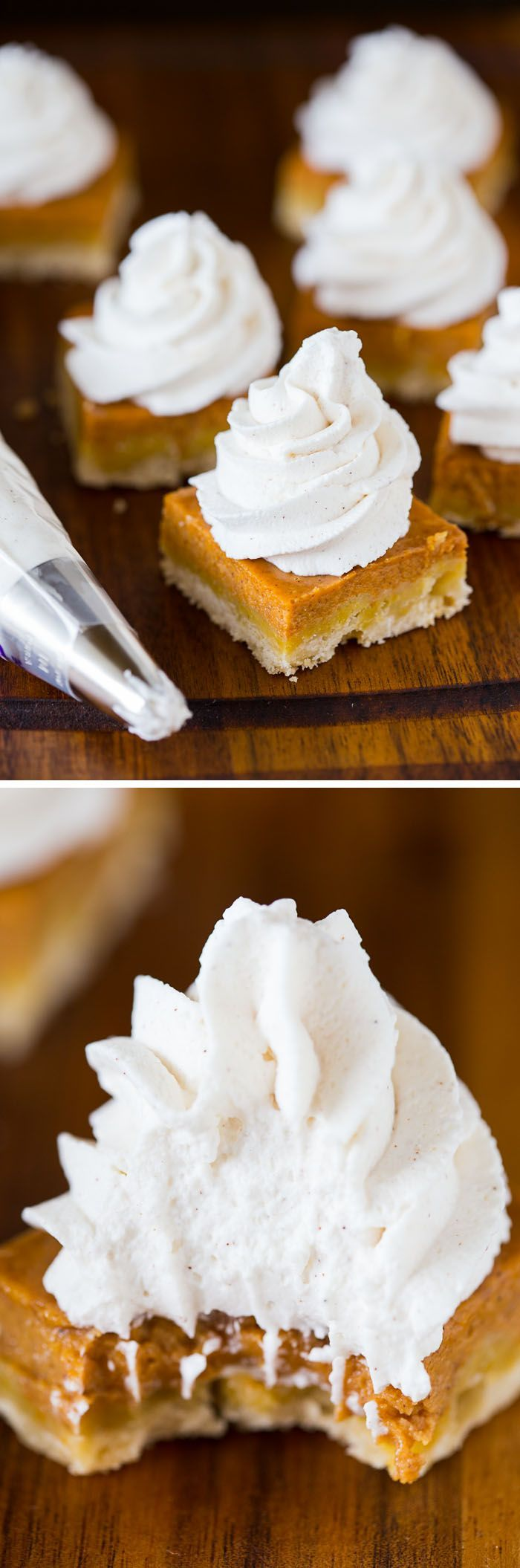 Pumpkin Pie Shortbread Bars with Maple Cinnamon Whipped Cream: a fall dessert recipe that gives pumpkin pie an amazing makeover! Perfect for Thanksgiving!