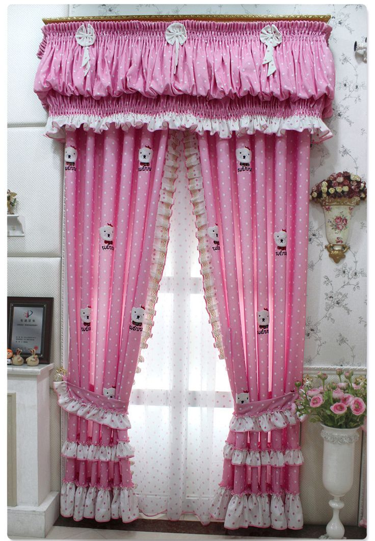 Sweet Pink Bedroom Curtains For Girls Bedroom Accessories : Cute Silk Pink Bedroom  Curtain With Printed