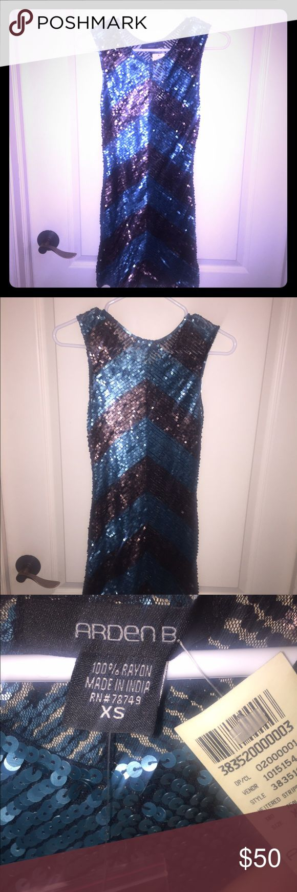 Sequins dress NWT! Gorgeous blue and brown sequins dress. Arden B Dresses Mini