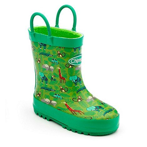 These Chipmunks boys green safari animal print wellingtons have warm fleece linings and handles so they can be pulled on easily by little hands!
