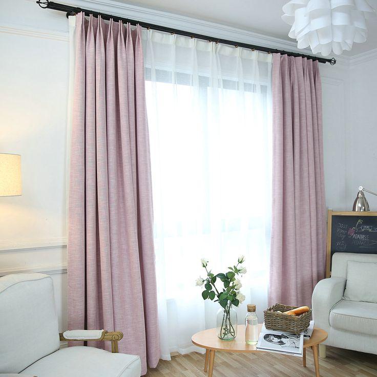 Unifarbe Vorhang Minimalismus Rosa aus Leinen und …