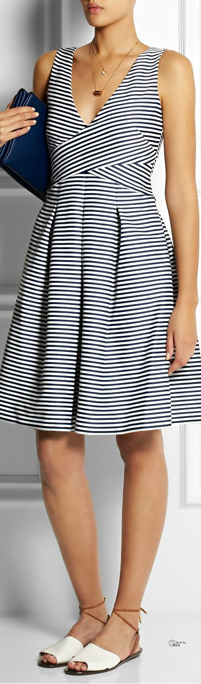 Halston Heritage ● Striped matte-satin dress
