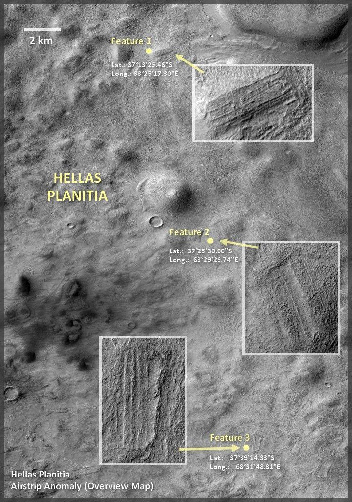 Imagens da sonda MRO que orbita Marte parecem mostrar estruturas e subdivisões…