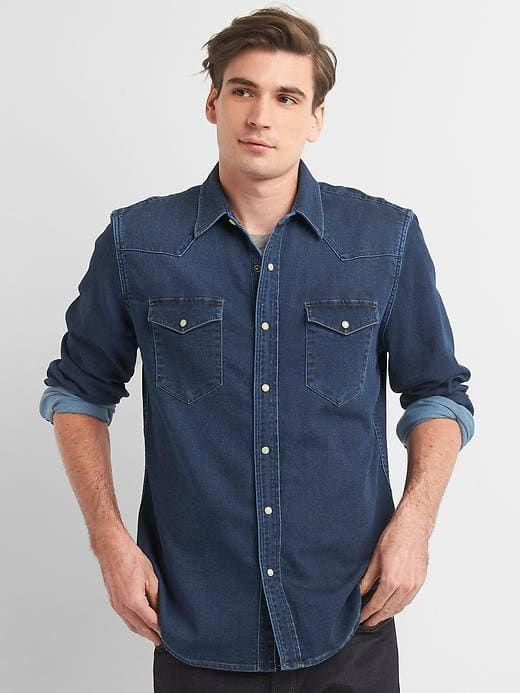 35a3dff952 Gap Mens Lightweight Denim Slim Fit Western Shirt Medium Blue   mensworkfashion