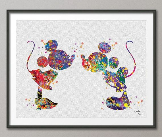 Mickey and Minnie Watercolor Print Archival Disney Fine Art Print Kids Art for Boys and Girls Nursery Art Wedding Gift Prince Room No 191