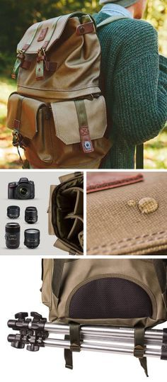 Adventure Camera Backpack - holds up to 4 lenses, waterproof, with tripod holder #Langly