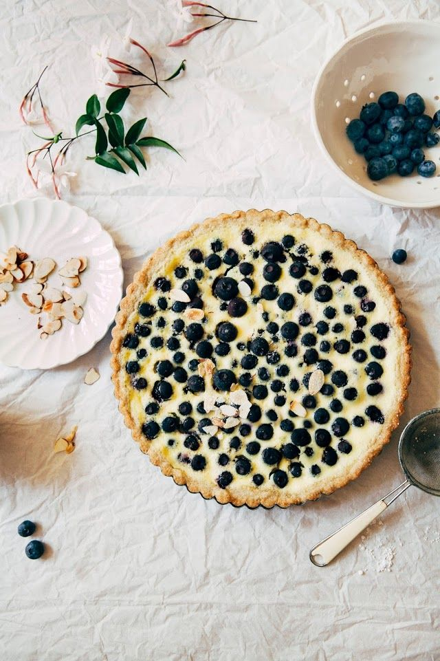 Nordic Blueberry Almond Custard Tart with a Rye Shortbread Crust